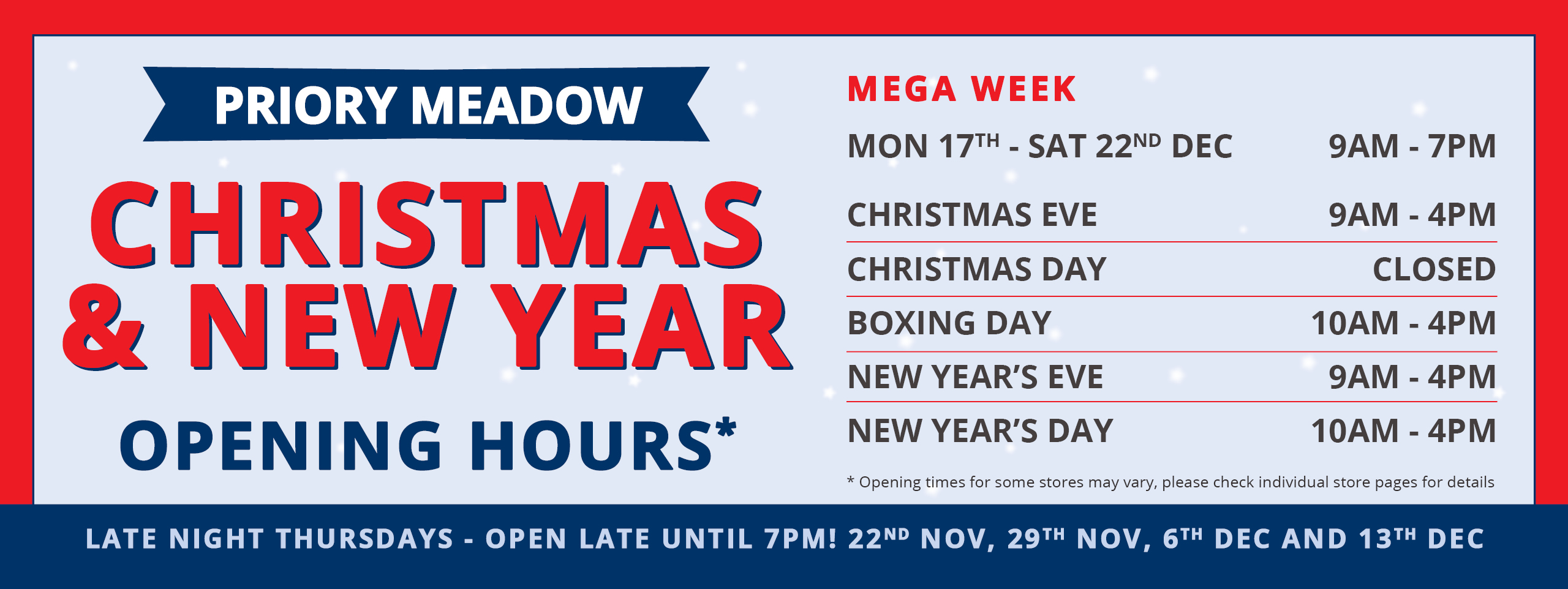 Opening Times Web Banner